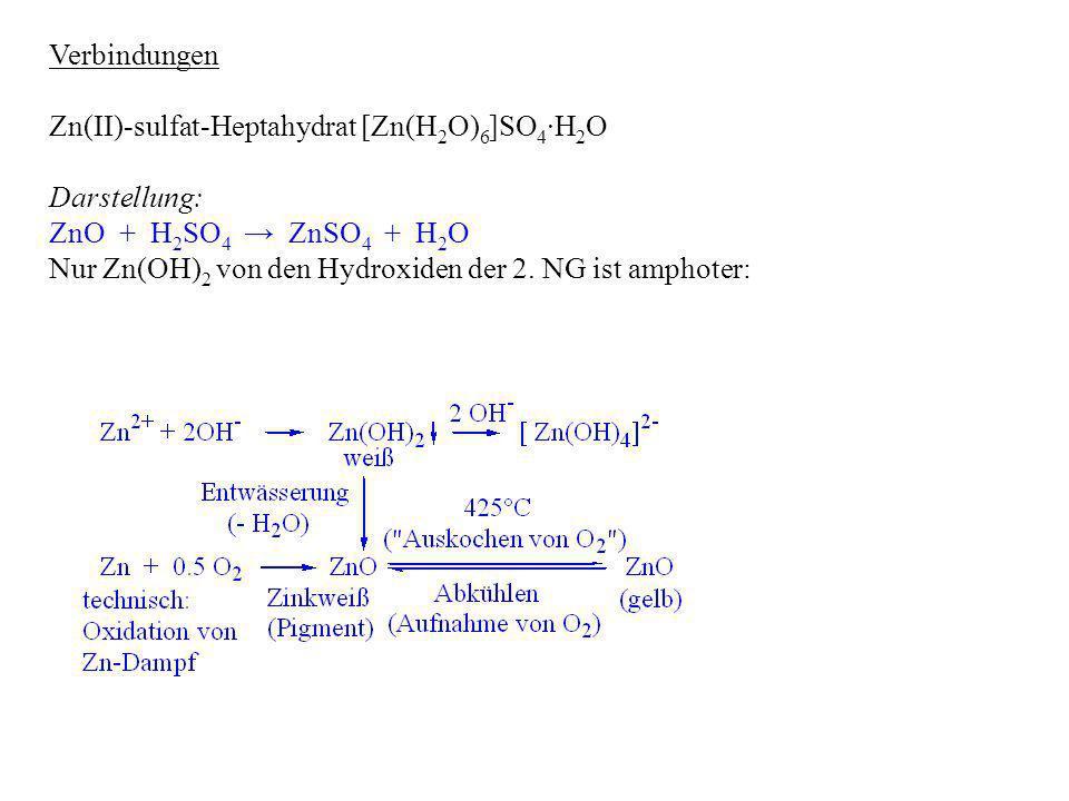 Verbindungen Zn(II)-sulfat-Heptahydrat [Zn(H2O)6]SO4∙H2O. Darstellung: ZnO + H2SO4 → ZnSO4 + H2O.